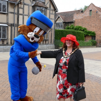 The Mayor of Stratford, Cllr Victoria Alcock, meeting Felix.