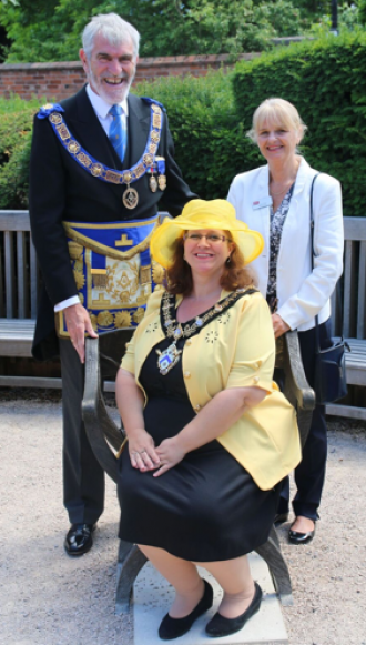 The Provincial Grand Master for Warwickshire; David Macey, The Mayor of Stratford-upon-Avon; Cllr Victoria Alcock, , CEO Shakespeare Birthplace Trust; Dr Diana Owen.